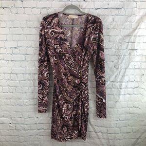 Michael Kors Print Faux Wrap Body Con Dress